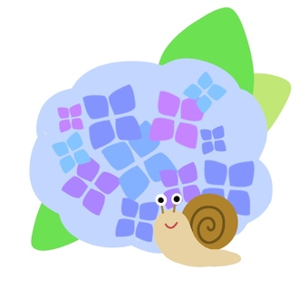 Snail and Hydrangea (blue)
