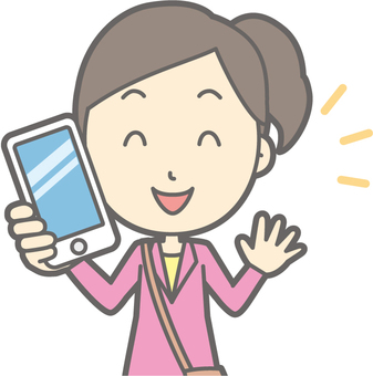 Female tourist youth a - have a smartphone - bust