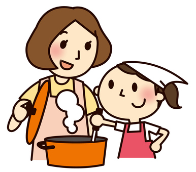 Cooking with parent and child