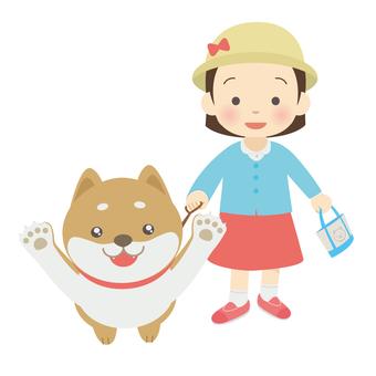 Walking with Shiba Inu
