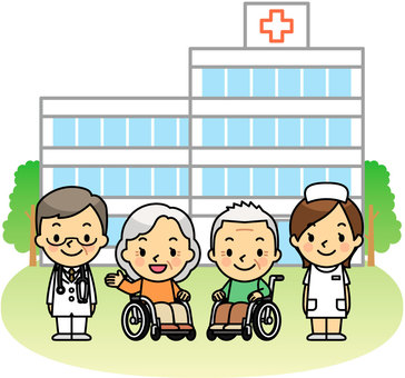 Elderly people in hospitals and wheelchairs