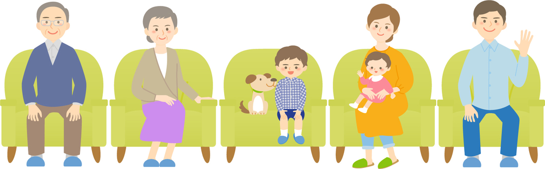 Family sitting on the sofa