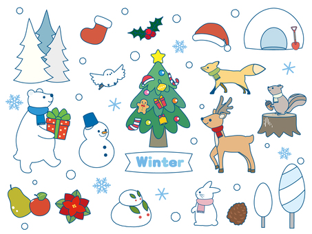 Winter illustration material collection 2