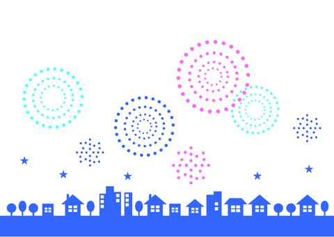 Cityscape frame fireworks
