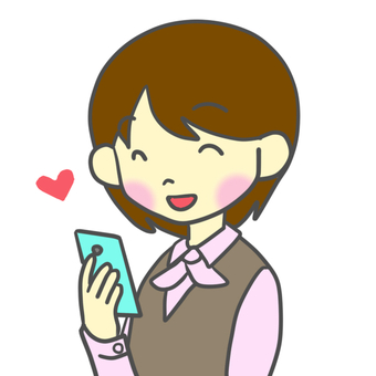A woman happy to see a smartphone