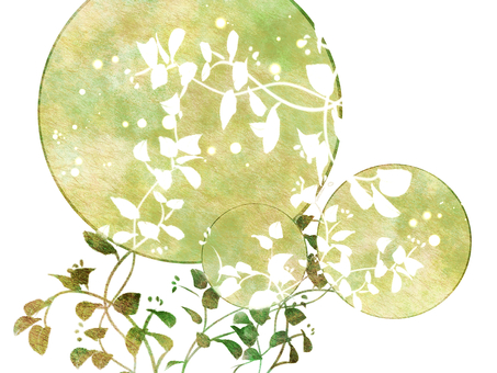Moon and leaves (green)