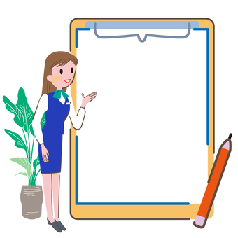 Clipboard and woman illustration