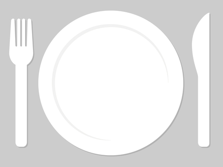 Knife, fork and dish white