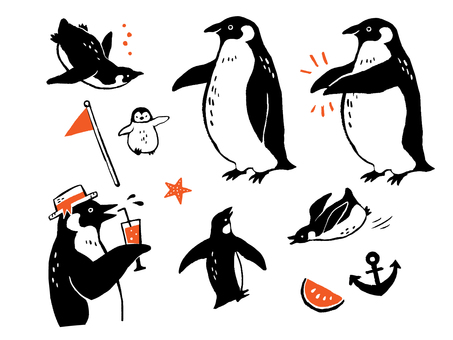 Hand-painted style penguin set