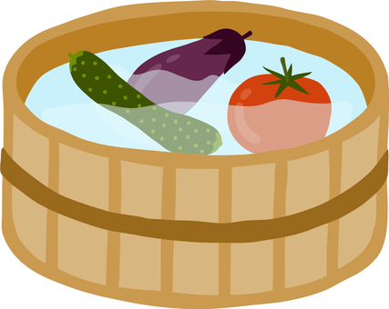 Summer vegetables chilled with a cute wooden turtle water