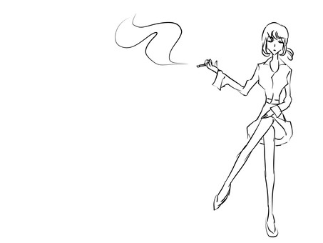 Smoking woman, line drawing