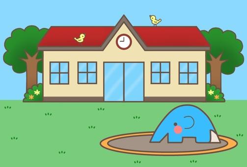 Nursery school / kindergarten (red roof + background) 1