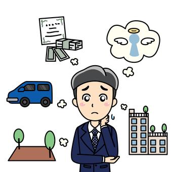 남성 직장인 직장인 - 돈의 고민