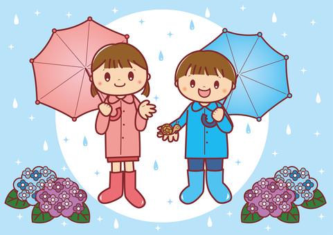 傘をさす子供たち