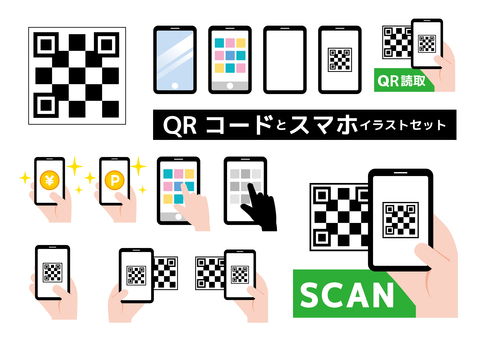 QR code smart illustration set
