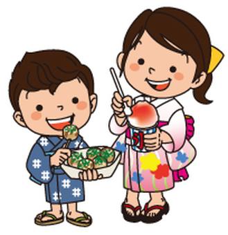 Yukata children, festivals