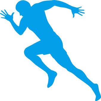 Runner _ silhouette _ light blue
