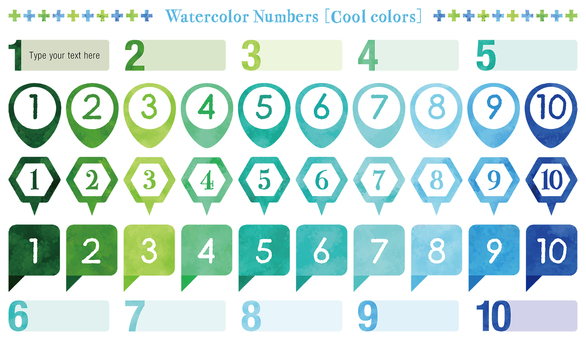 Water color touch number set: cool