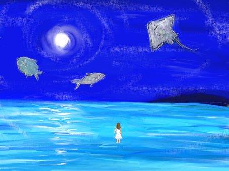 幻想的な夜の海