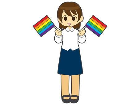 A woman with a rainbow flag