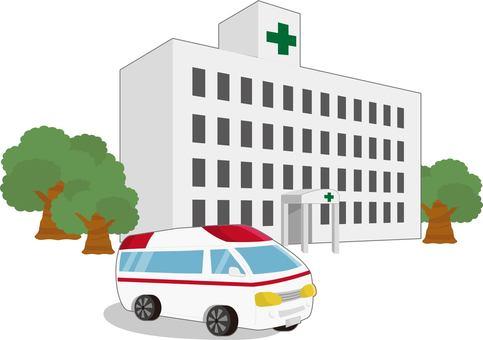醫院和救護車正對
