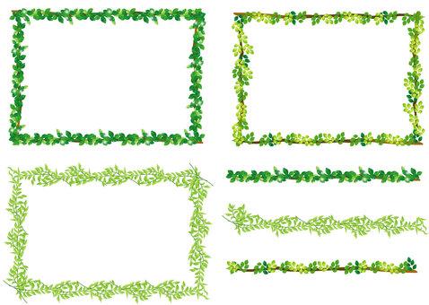 葉っぱ、 木の枝、緑のフレーム