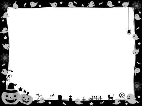 Halloween frame ghost black and white