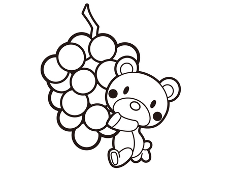 Running with grapes Bear black and white