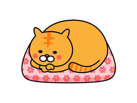 A cat rolling on the cushion (peach)