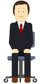 A man in a suit sitting on a chair Vector