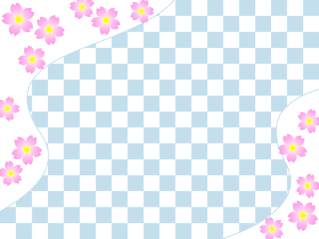 Cherry blossoms and checkerboard wallpaper, Japanese style background material image