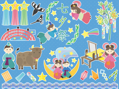 Tanabata's cute illustration set (white edge)