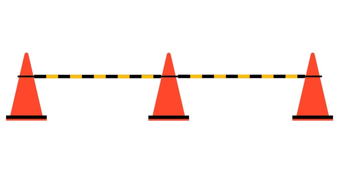 Construction color cone sideways (with bar)