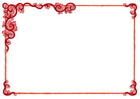 Arabesque frame (vortex arabesque red gold)