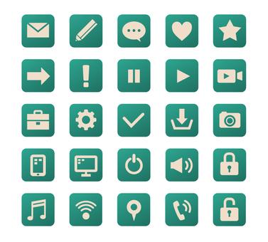 Square icon set-green