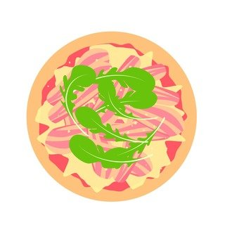 Pizza with raw ham and Rucola