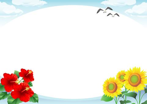 해바라기 히비스커스와 푸른 하늘 프레임