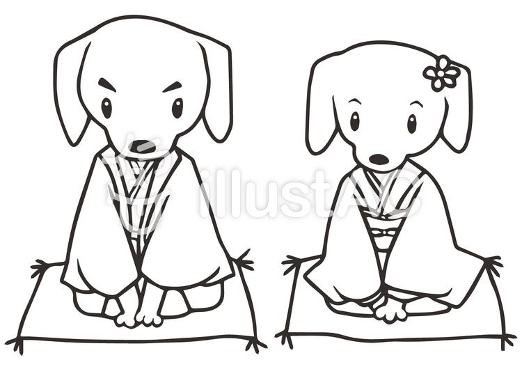 犬の夫婦ぬりえイラスト No 961493無料イラストならイラストac