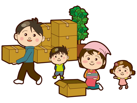 A family packing a moving house