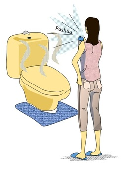 A woman who deodorizes after the toilet