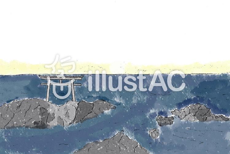 大洗海岸日の出前(透過)のイラスト