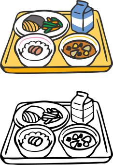 學校午餐(米飯魚)手繪