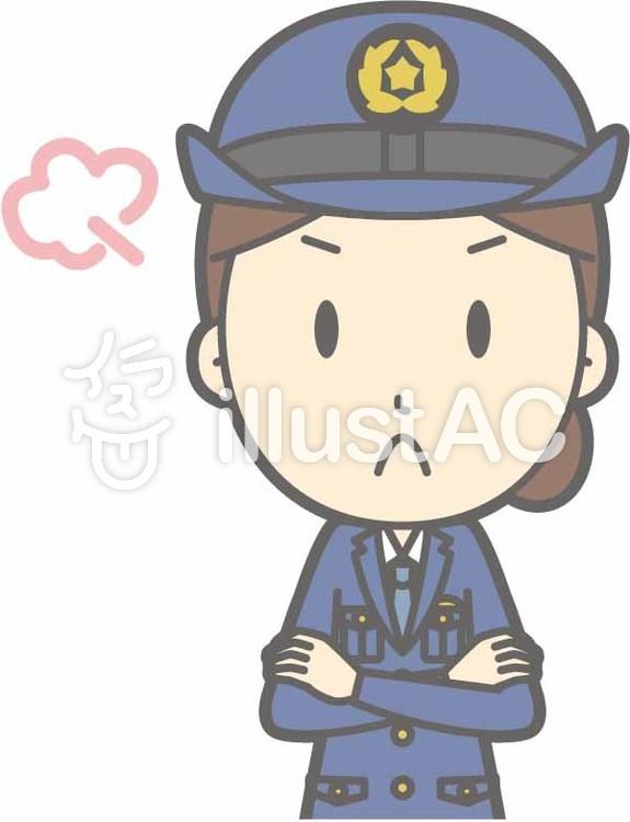 警察官女性a-怒る-バストのイラスト