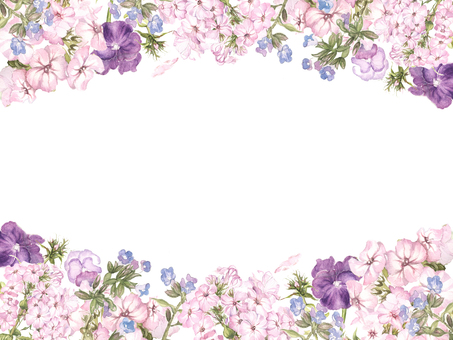 Flower frame 214 - Eulan grass and pansy flower frame
