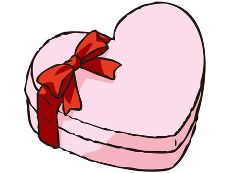Heart's present box (pink)