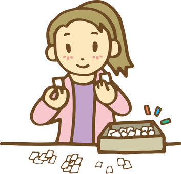 A woman sorting