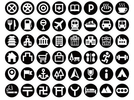 Map symbol icon set (circular)