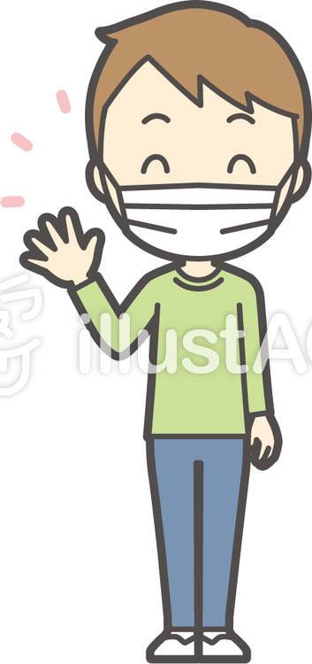 男の子グリーン長袖-125-全身のイラスト