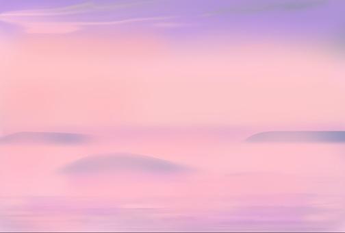 早晨太陽的一個海島