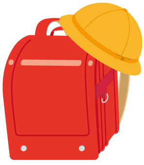 School bag with school hat (red)